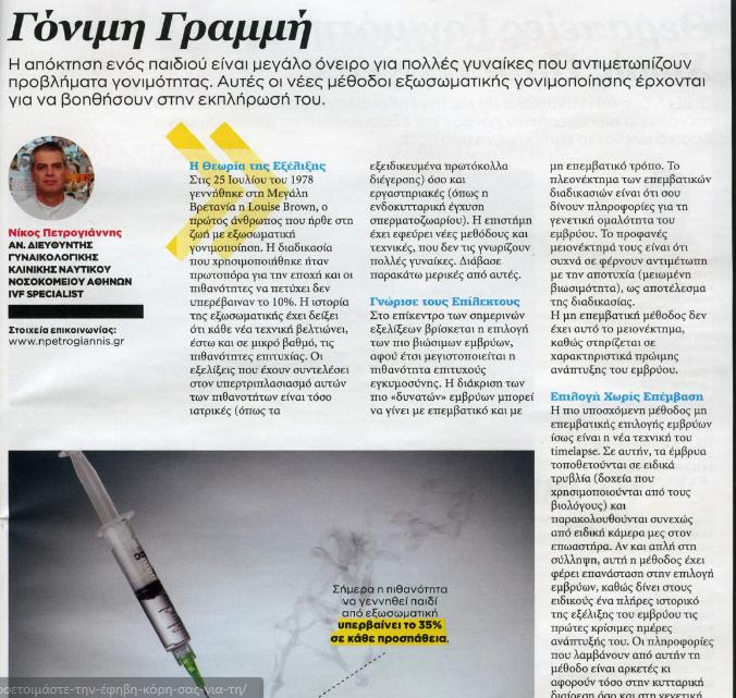Γόνιμη Γραμμή – Ο Δρ Νικόλαος Πετρογιαννής στο Woman's Health